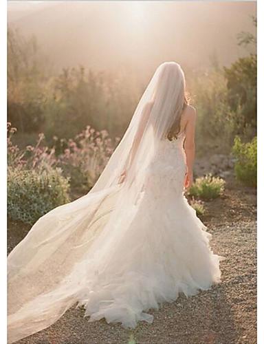 cheap Wedding Veils-One-tier Cut Edge Wedding Veil Chapel Veils with Flower Comb Tulle / Angel cut / Waterfall