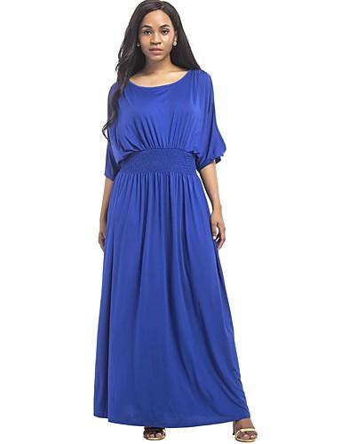 levne Maxi šaty-Dámské Větší velikosti Šik ven Bavlna Pouzdro Šaty - Jednobarevné Maxi