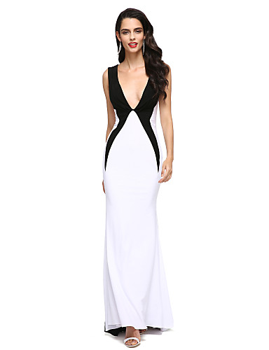 d6d9b308ca7 Sheath   Column V Neck Sweep   Brush Train Jersey Color Block Cocktail  Party   Formal Evening Dress with Pleats by TS Couture®  03415555