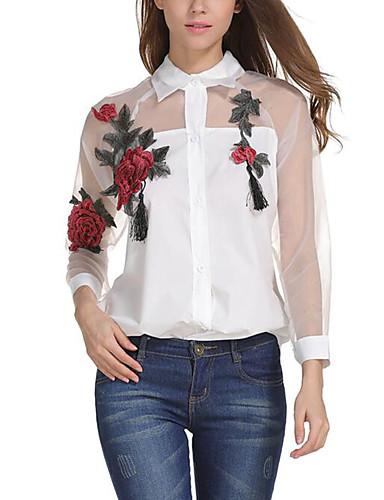 billige Bluser-Skjortekrage Skjorte Dame Netting Gatemote Hvit / Sommer