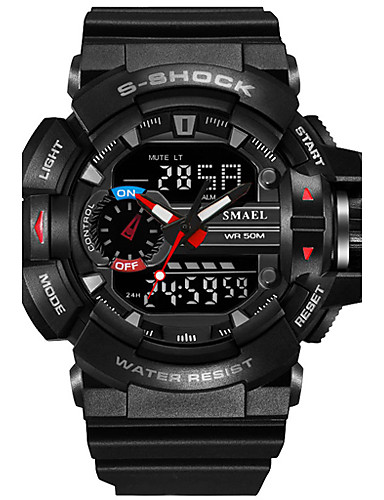 87a3a564c8 [$20.99] SMAEL Men's Sport Watch Military Watch Digital Watch Japanese  Digital Quilted PU Leather Silicone Black / Red / Orange 50 m Water  Resistant / ...