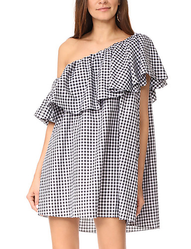 Women's Work Casual Sophisticated Sheath Dress - Houndstooth High Rise Boat Neck
