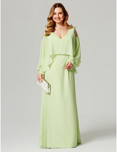 voordelige Grote maten jurken-Strak / kolom V-hals Tot de grond Chiffon Cocktailparty / Formele avonden Jurk met Kralen door TS Couture®