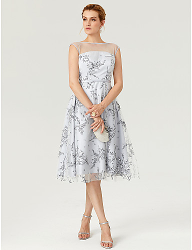 cheap Special Occasion Dresses-A-Line Fit & Flare Open Back Pattern Dress Illusion Detail Cocktail Party Prom Dress Illusion Neck Sleeveless Knee Length Tulle Over Lace with Sash / Ribbon Pattern / Print 2020