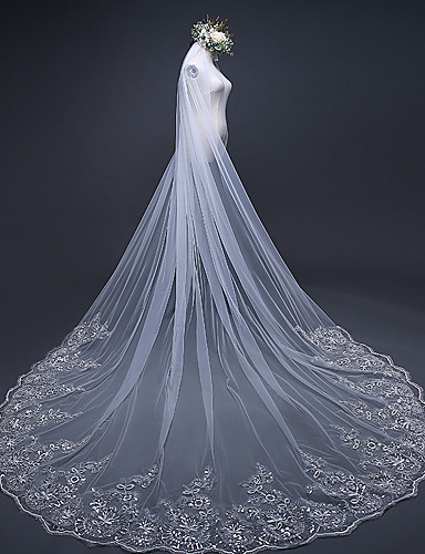 One Tier Lace Applique Edge Wedding Veil Chapel Veils Cathedral With Embroidery Ruffles Ruched Tulle 6057327 2018 2499