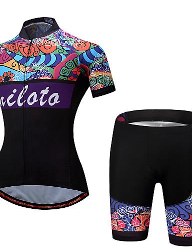 ราคาถูก ลดล้างสต็อกครั้งใหญ่-Miloto สำหรับผู้หญิง แขนสั้น Cycling Jersey with Shorts สายรุ้ง ลวดลายดอกไม้ / เกี่ยวกับพฤษศาสตร์ ขนาดพิเศษ จักรยาน ชุดออกกำลังกาย กีฬา เส้นใยสังเคราะห์ สแปนเด็กซ์ ลวดลายดอกไม้ / เกี่ยวกับพฤษศาสตร์