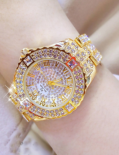 billige Trendy klokker-Dame Luksusur Armbåndsur Diamond Watch Rustfritt stål Sølv / Gylden Vannavvisende Kronograf Kreativ Analog damer Simulert Diamond Watch Elegant Bling bling - Golden Watch med 4stk armbånd Silver