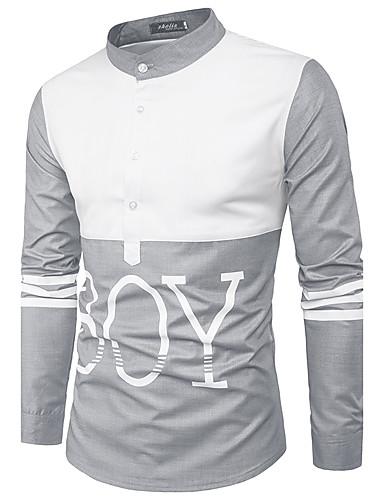 Herren Klassisches Langarm Hemd Fit Freizeit mit Vögeln Druck Baumwolle Button Down Kragen