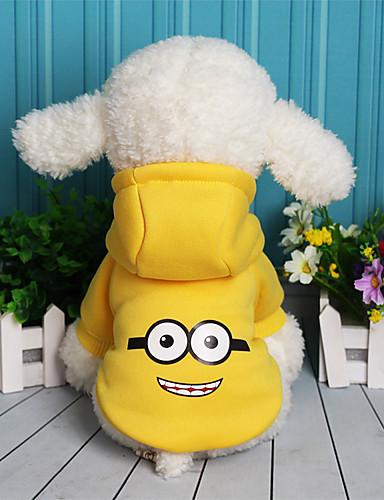 preiswerte Haustierzubehör-Hund Pullover Fleece-Hoodie Winter Hundekleidung Warm Purpur Gelb Rot Kostüm Fleece Baumwolle Cartoon Design Lässig / Alltäglich XS S M L XL XXL