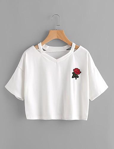 billige Dametopper-Bomull V-hals T-skjorte Dame - Ensfarget / Broderi, Kunstnerisk Stil / Hjerte Stil / Klassisk Ut på byen Gul / Sommer / Utskjæring