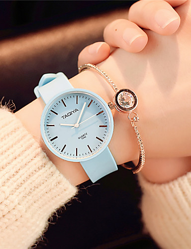 cheap Couple Watches-Women's Wrist Watch Quartz Silicone Black / White / Green Casual Watch Analog Ladies Candy color Casual Fashion Elegant - Pink Light Blue Light Green One Year Battery Life / SSUO 377