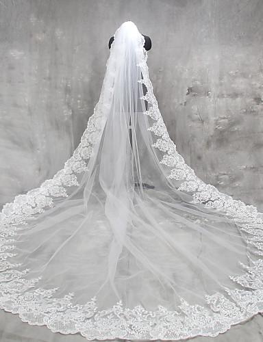 povoljno Vjenčani velovi-One-tier Čipka aplicirano Edge Vjenčani velovi Katedrala Burke s Aplikacije Čipka / Til / Klasik