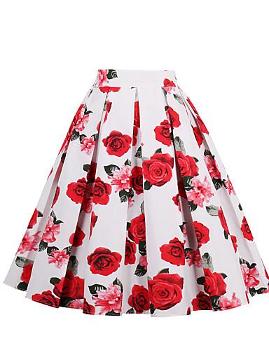 preiswerte Ein Retro - Rock-Damen Retro Alltag Festtage Ausgehen Baumwolle A-Linie Röcke - Blumen Blumen Schwarz Weiß Purpur S M L