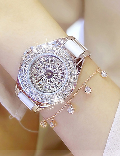 cheap Bracelet Watches-Women's Ladies Luxury Watches Bracelet Watch Wrist Watch Quartz Stainless Steel Ceramic White / Gold 30 m Water Resistant / Waterproof Creative Imitation Diamond Analog Charm Luxury Sparkle Dot Casual