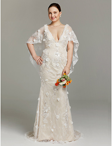 Sheath / Column Plunging Neck Sweep / Brush Train Floral Lace Made-To-Measure Wedding Dresses Sequin / Appliques / Flower LAN TING BRIDE® / Illusion Sleeve / Sparkle & Shine