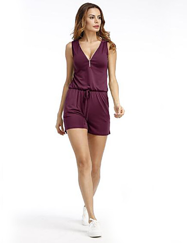 Women Sleeveless Zipper Deep V Neck Solid Colored Jumpsuit Beach Casual Fashion Short Romper Playsuits 6056040 2018 12 59