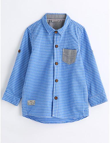 Chlapecké S proužky Dlouhý rukáv Bavlna Košile Vodní modrá 6019879 2019 –   12.96 38f6a6961b