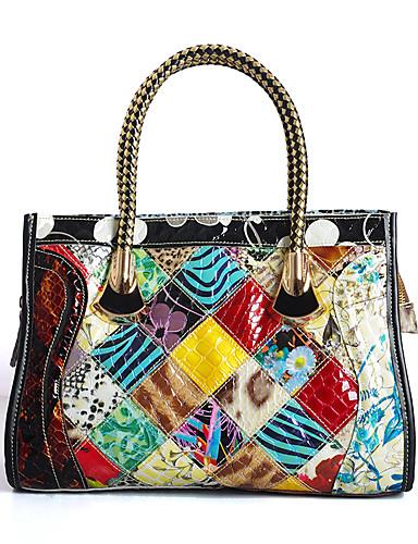 preiswerte Elegante Damen-Handtaschen-Damen Muster / Druck / Kariert / Kombination Rindsleder Tragetasche Regenbogen