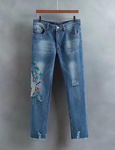dc8938a3e Feminino Moda de Rua Cintura Média strenchy Largo Jeans Calças ...