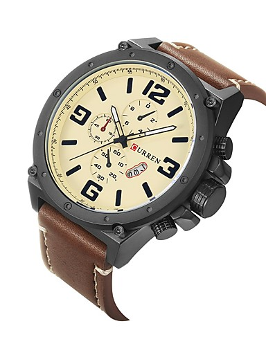 f1f63d053416 Hombre Reloj Deportivo   Reloj de Pulsera Chino Calendario   Resistente al  Agua   Esfera Grande Cuero Auténtico Banda Encanto   Moda   Reloj de Vestir  ...
