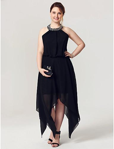 voordelige Grote maten jurken-A-lijn Halter Asymmetrisch Chiffon Zwart jurkje / Blote rug Cocktailparty / Schoolfeest Jurk met Kristaldetails / Plooien door TS Couture®