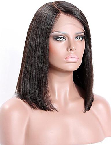 povoljno Perike s ljudskom kosom-Remy kosa Perika s prednjom čipkom bez ljepila Lace Front Perika Bob frizura stil Brazilska kosa Ravan kroj Yaki Perika 130% 150% Gustoća kose s dječjom kosom Prirodna linija za kosu Afro-američka
