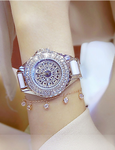 cheap Fashion Watches-Women's Ladies Luxury Watches Bracelet Watch Wrist Watch Quartz Stainless Steel Ceramic White / Gold 30 m Water Resistant / Waterproof Creative Imitation Diamond Analog Charm Luxury Sparkle Dot Casual