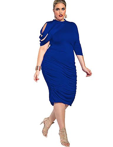 levne Šaty velkých velikostí-Dámské Větší velikosti Jdeme ven Vypasovaný Bodycon Šaty - Jednobarevné Délka ke kolenům Tričkový Modrá