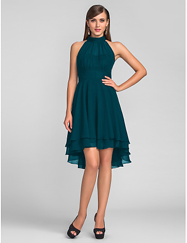 cheap Cocktail Dresses-A-Line Little Black Dress Black Homecoming Cocktail Party Dress Halter Neck Sleeveless Knee Length Chiffon with Pleats 2020