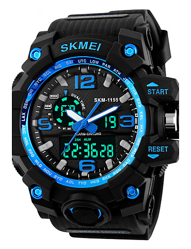 cheap Digital Watches-SKMEI Men's Sport Watch / Fashion Watch / Military Watch Japanese Alarm / Calendar / date / day / Chronograph PU Band Black / Water Resistant / Water Proof / LED / Dual Time Zones / Stopwatch