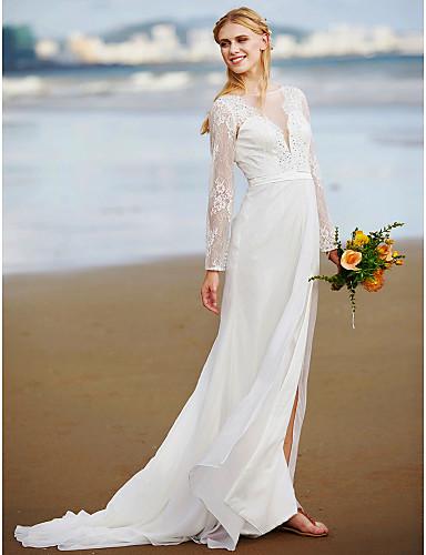 A-Line V Neck Sweep / Brush Train Chiffon / Lace Made-To-Measure Wedding Dresses Lace / Sash / Ribbon / Side-Draped LAN TING BRIDE® / Illusion Sleeve / Open Back