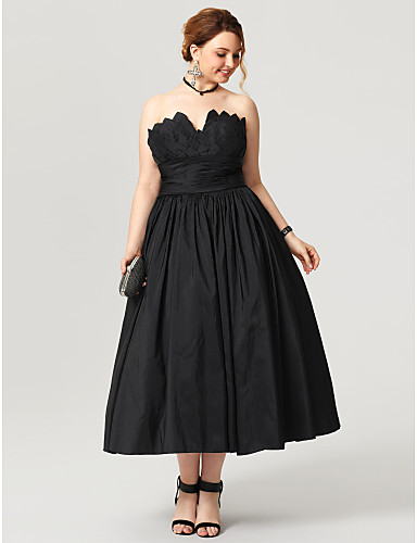 cheap Special Occasion Dresses-Ball Gown Little Black Dress Open Back Prom Formal Evening Dress Notched Sleeveless Tea Length Taffeta with Sash / Ribbon Pleats Ruched 2020