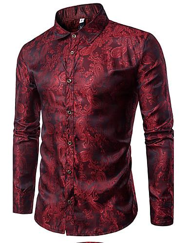 levne Vánoce-Pánské - Jednobarevné Luxus Košile, Žakár Bavlna Klasický límeček Štíhlý Fialová / Dlouhý rukáv