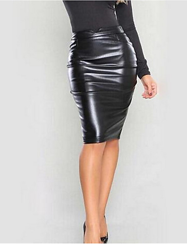 cheap Leather Pants & Skirts-Women's Party PU Bodycon Skirts - Solid Colored Winter Black Gray Wine L XL XXL