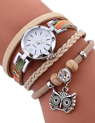 cheap Bracelet Watches-Women's Bracelet Watch Wrap Bracelet Watch Quartz Quilted PU Leather Black / White / Blue Water Resistant / Waterproof Creative Analog Ladies Casual Fashion Elegant - Black Blue Khaki One Year