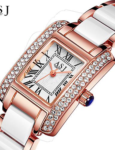 preiswerte ASJ®-ASJ Damen Uhr Luxus-Armbanduhren Armbanduhr Diamond Watch Japanisch Quartz Legierung Keramik Silber / Rotgold 30 m Wasserdicht Kreativ Analog damas Glanz Silber Rotgold / Ein Jahr / Ein Jahr