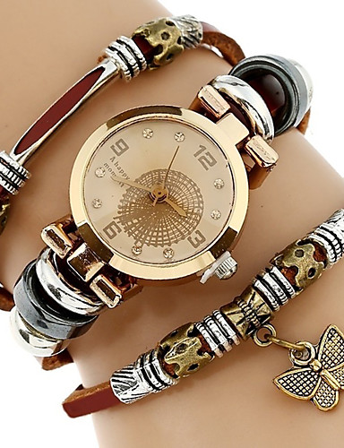 cheap Kids' Watches-Women's Bracelet Watch Wrist Watch Quartz Wrap Genuine Leather Brown Cool Imitation Diamond Analog Ladies Vintage Casual Butterfly Bohemian - Black Brown Green One Year Battery Life