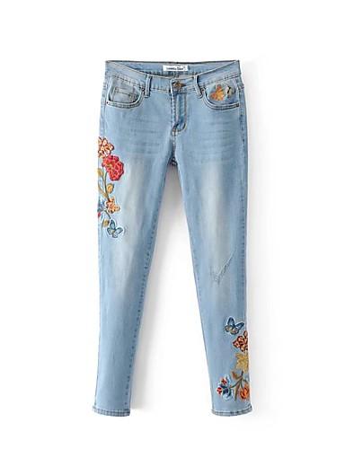 5ac209527 Feminino Moda de Rua Cintura Alta Micro-Elástica Solto Jeans Calças ...
