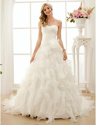 cheap Wedding Dresses-Ball Gown Sweetheart Neckline Court Train Organza Strapless Romantic Plus Size Wedding Dresses with Cascading Ruffle / Criss-Cross 2020