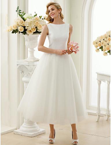 cheap Wedding Dresses-A-Line Bateau Neck Tea Length Tulle / Sequined Regular Straps Simple Little White Dress Wedding Dresses with Lace / Sequin 2020