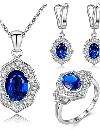 cheap Sterling Silver Jewelry Sets-Women's Sapphire AAA Cubic Zirconia Drop Earrings Pendant Necklace Ring Geometrical Solitaire Ladies Luxury Geometric Simple Style Fashion Cute Sterling Silver Cubic Zirconia Earrings Jewelry Dark