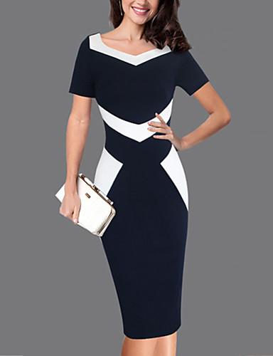levne Pracovní šaty-Dámské Větší velikosti Práce Štíhlý Pouzdro Šaty - Barevné bloky, Patchwork Délka ke kolenům Srdcový výstřih modrá & bílá