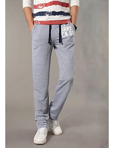 Hombre Activo Tiro Medio Microelástico Corte Recto Corte Ancho Pantalones  de Deporte Pantalones 54cfba16682c