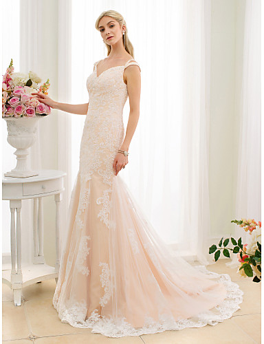 Mermaid / Trumpet V Neck Court Train Lace / Tulle Made-To-Measure Wedding Dresses Beading / Appliques LAN TING BRIDE® / Wedding Dress Color / Open Back