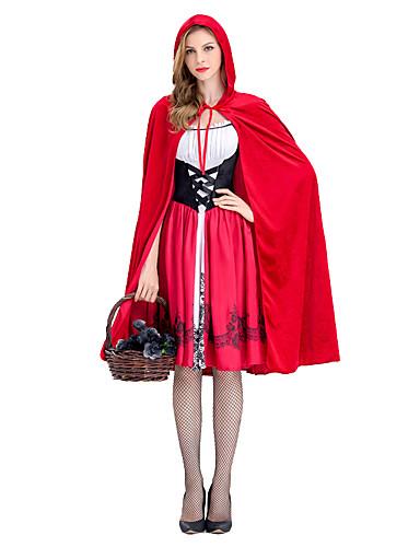 preiswerte Kostüme für Erwachsene-Rotkäppchen Kleid Cosplay Kostüme Umhang Maskerade Kappe Erwachsene Damen Weihnachten Halloween Karneval Fest / Feiertage Elastan Tactel Rot Weiblich Karneval Kostüme Vintage