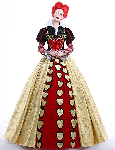 cheap Movie & TV Theme Costumes-Alice's Adventures in Wonderland Queen of Hearts Dress Women's Movie Cosplay Dress Petticoat Wig Christmas Halloween Carnival Ssatin