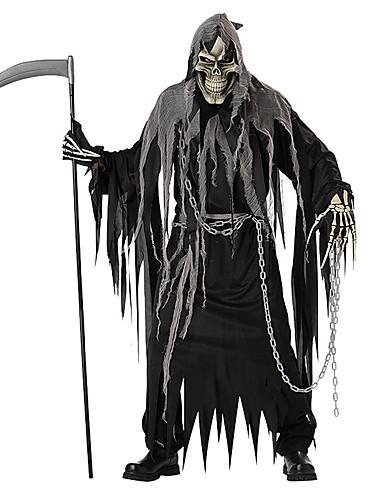 povoljno Maske i kostimi-Skeleton / Lubanja Cosplay Grim Reaper Cosplay Nošnje Rekviziti za Noć vještica Odrasli Muškarci Halloween Halloween Karneval Dan mrtvih Festival / Praznik Polyster Crn Muškarci Žene Karneval kostime