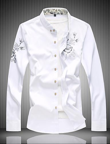 levne Pánské košile-Pánské - Květinový Práce Aktivní Košile, Tisk Bavlna Černá / Dlouhý rukáv