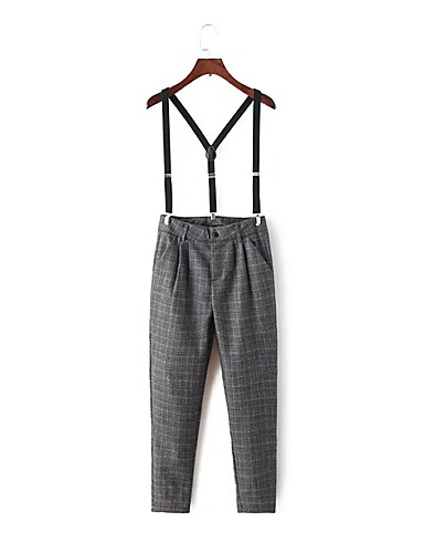 960ae5d101b Women s Mid Rise Micro-elastic Slim Overalls Pants
