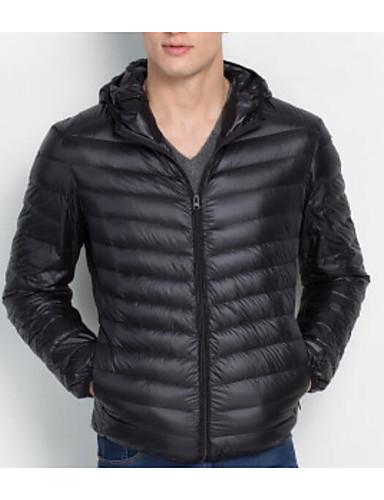 levne Pánské kabáty a parky-Pánské Dlouhý kabát - Jednobarevné Bavlna